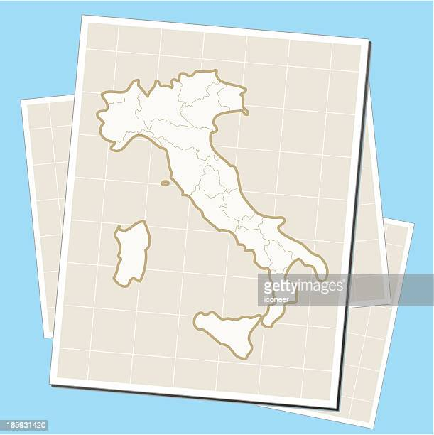 Italy map on paper