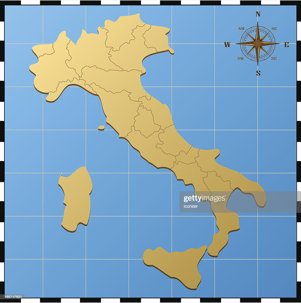 italy map with compass rose vector art | getty images