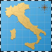 Italy map with compass rose