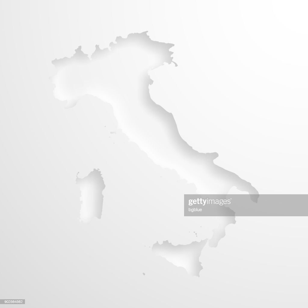 Italy Map With Embossed Paper Effect On Blank Background Vector Art
