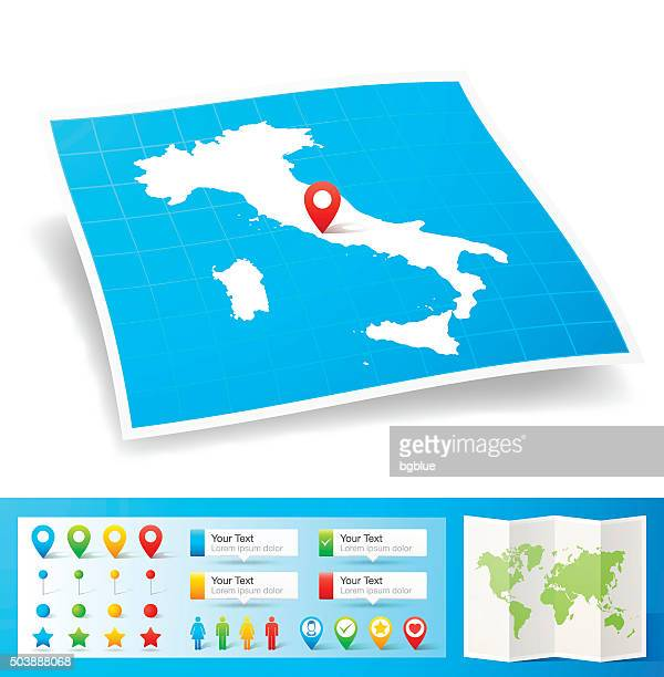 italy map with location pins isolated on white background - sardinia stock illustrations, clip art, cartoons, & icons