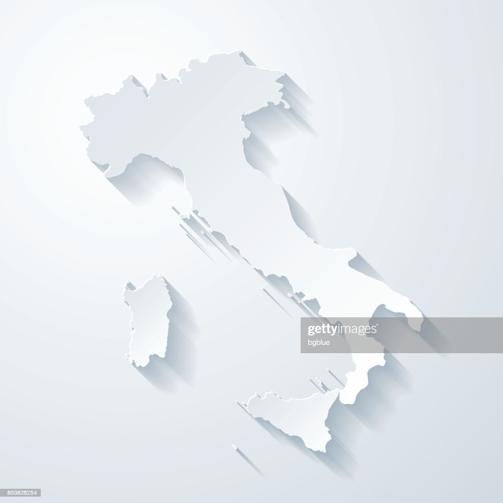 Italy map with paper cut effect on blank background