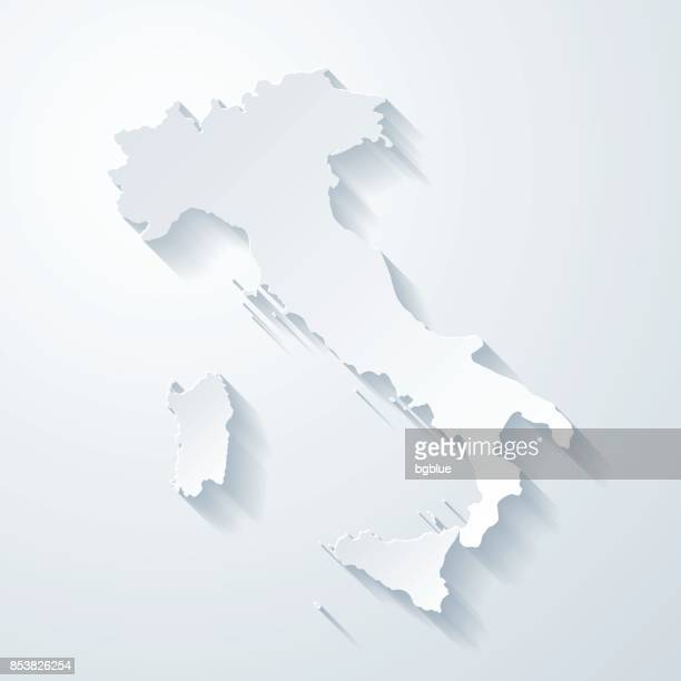 illustrazioni stock, clip art, cartoni animati e icone di tendenza di italy map with paper cut effect on blank background - carta geografica