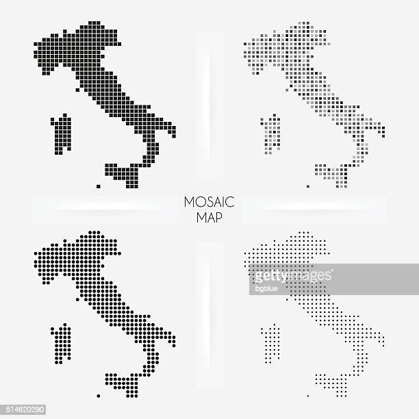 illustrazioni stock, clip art, cartoni animati e icone di tendenza di italia mappe-mosaico squarred e a pois - italy