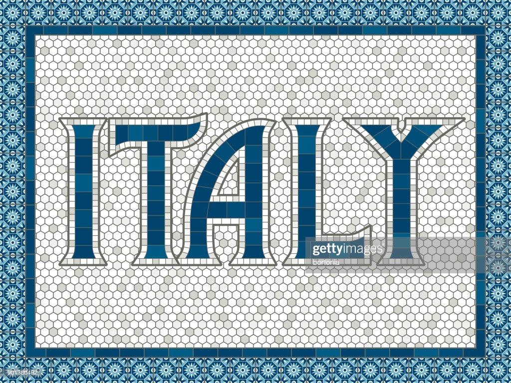 Italien Alte Altmodische Mosaik Fliesen Typografie Vektorgrafik - Alte mosaik fliesen