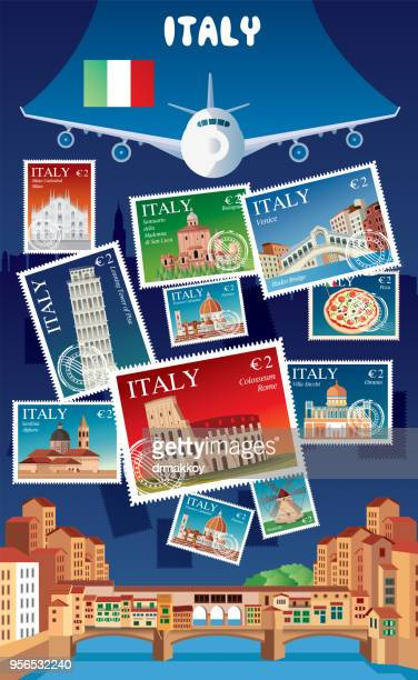 italy postage - pisa stock illustrations, clip art, cartoons, & icons