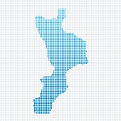 Italy Regions Calabria Map Blue Dot Pattern