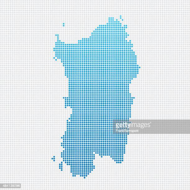 italy regions sardegna map blue dot pattern - sardinia stock illustrations, clip art, cartoons, & icons