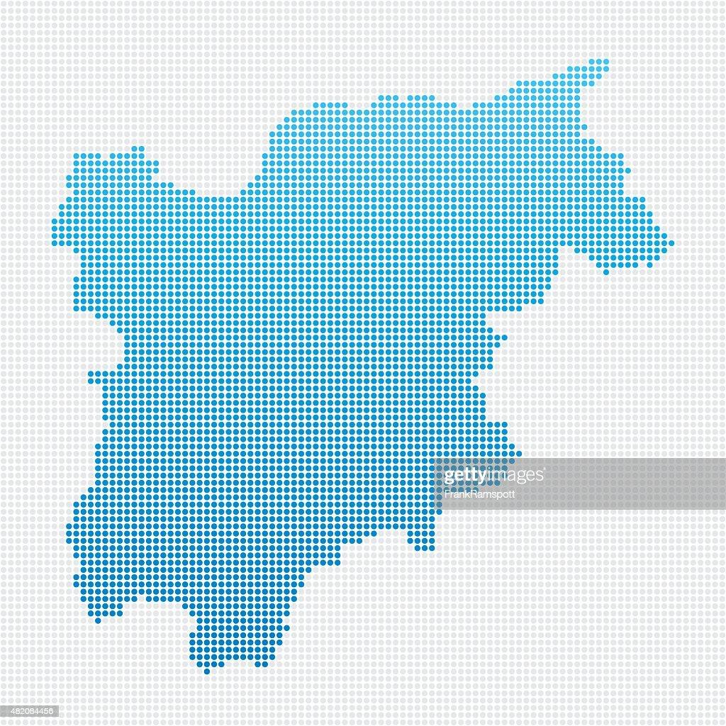 Italy Regions Trentino Alto Adige Map Blue Dot Pattern Vector Art