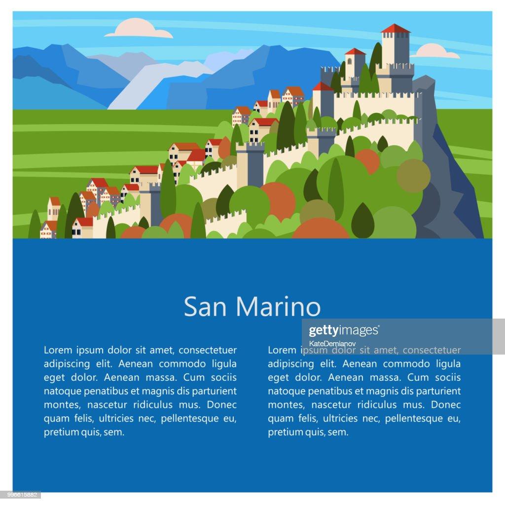 Italy. san marino. A small Republic in Italy. Vector illustration.