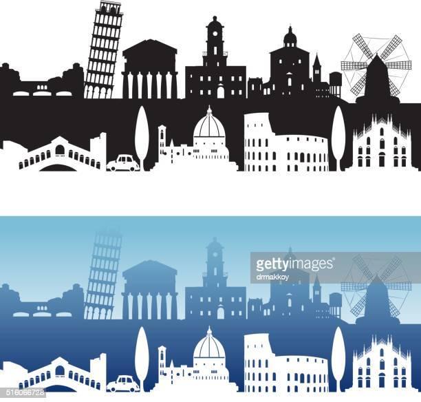 italy skyline - valle d'aosta stock illustrations, clip art, cartoons, & icons