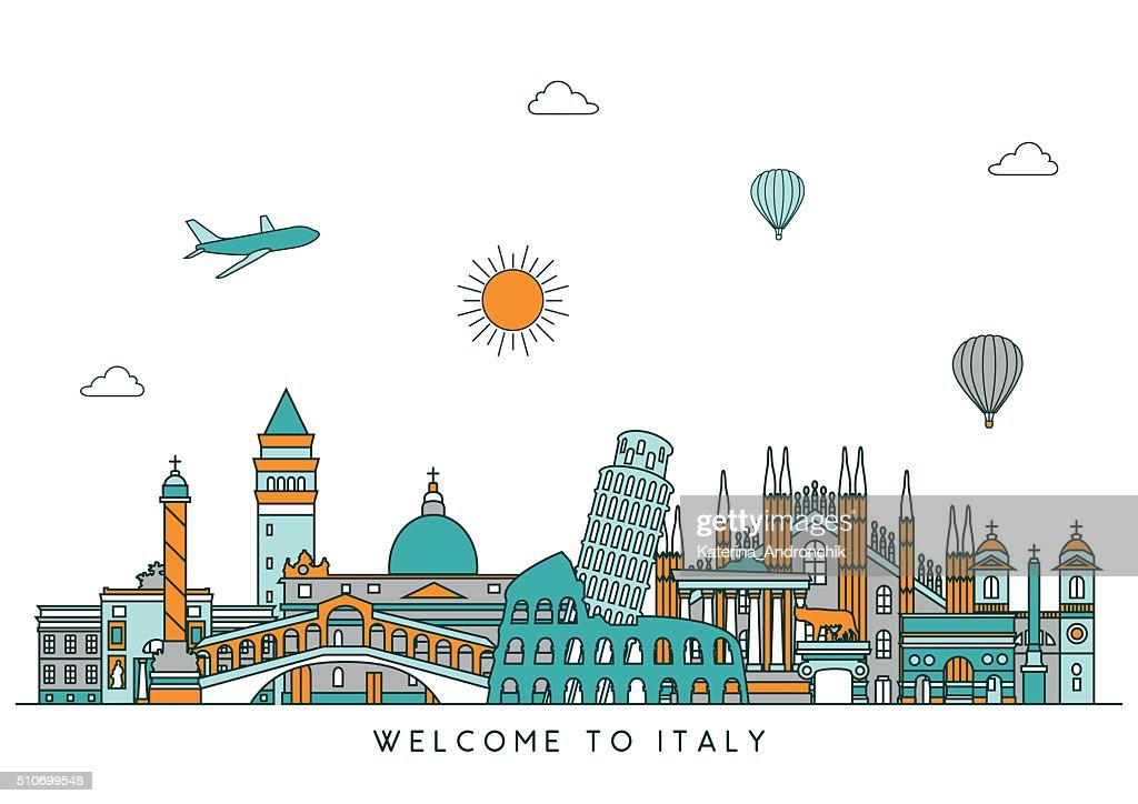 Italy skyline. Vector line illustration. Line style design