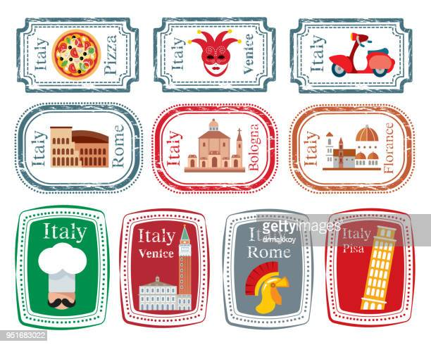 italy stamp - leaning tower of pisa stock illustrations, clip art, cartoons, & icons