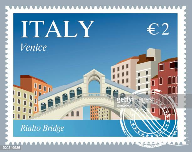 italy stamps - venice italy stock illustrations, clip art, cartoons, & icons