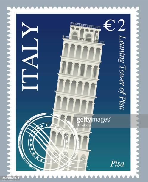 italy stamps - leaning tower of pisa stock illustrations, clip art, cartoons, & icons