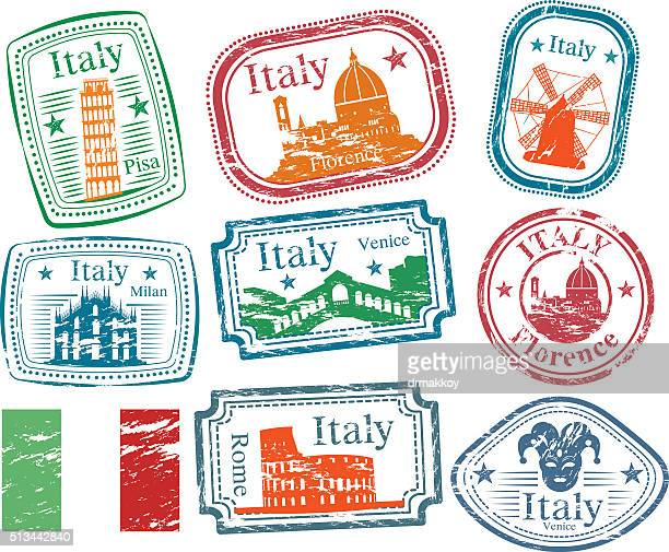 italy stamps - milan stock illustrations, clip art, cartoons, & icons