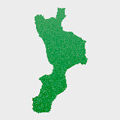 Italy State Calabria Map Green Hexagon Pattern