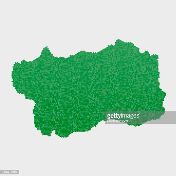 italy state valle'd aosta map green hexagon pattern - valle d'aosta stock illustrations, clip art, cartoons, & icons