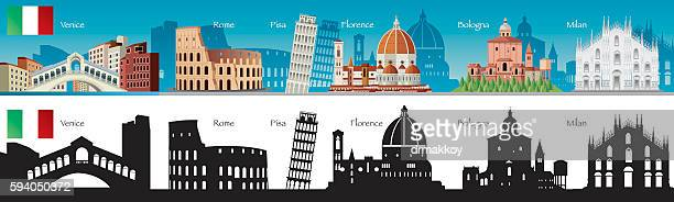 italy symbols - leaning tower of pisa stock illustrations, clip art, cartoons, & icons