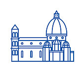 Italy, temple, florence cathedral line icon concept. Italy, temple, florence cathedral flat  vector symbol, sign, outline illustration.