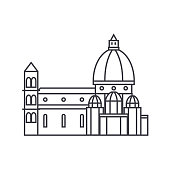 italy, temple, florence cathedral vector line icon, sign, illustration on background, editable strokes