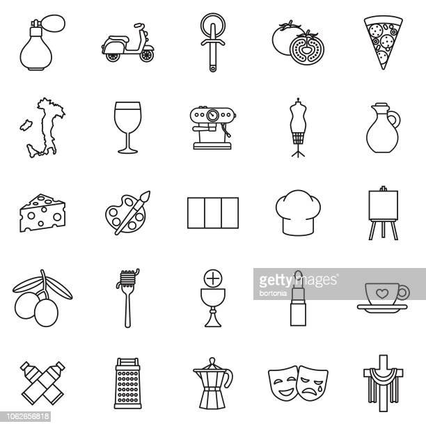 italy thin line outline icon set - italy stock illustrations