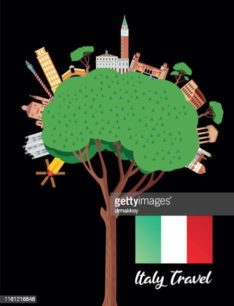 italy travel and pine tree - valle d'aosta stock illustrations, clip art, cartoons, & icons