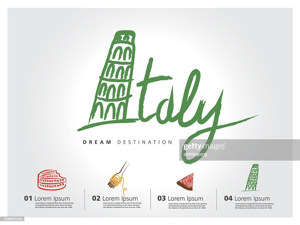 Italy travel set, Pisa, Rome, Colosseum, typography