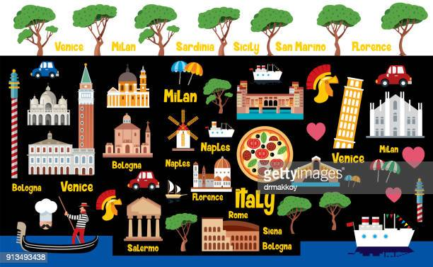 italy travel - naples italy stock illustrations