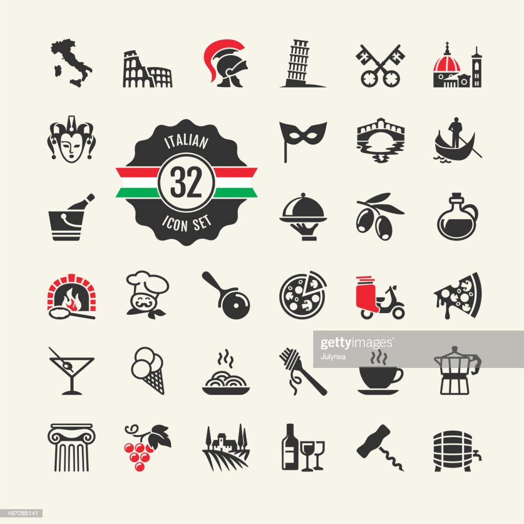 Italy - travel web icon set