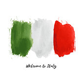 Italy vector watercolor national country flag icon.