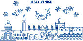 Italy, Venice winter city skyline. Merry Christmas, Happy New Year decorated banner with Santa Claus.Winter greeting line card.Flat, outline vector.Linear christmas snow illustration
