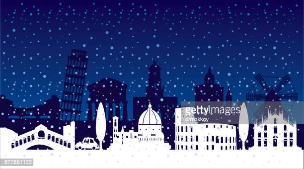 italy winter - milan stock illustrations, clip art, cartoons, & icons