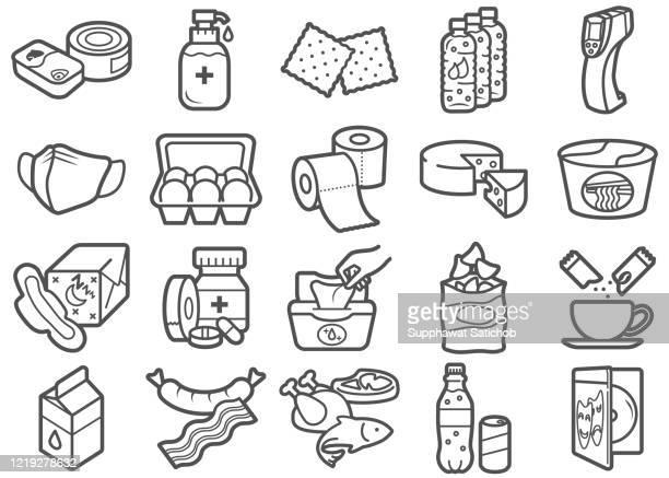 illustrations, cliparts, dessins animés et icônes de articles pour stay at home clip arts line icons set illustration stock - confinement clip art