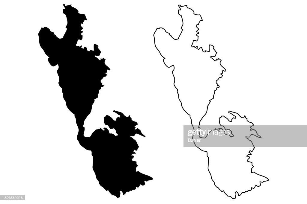 Ithaki island map vector