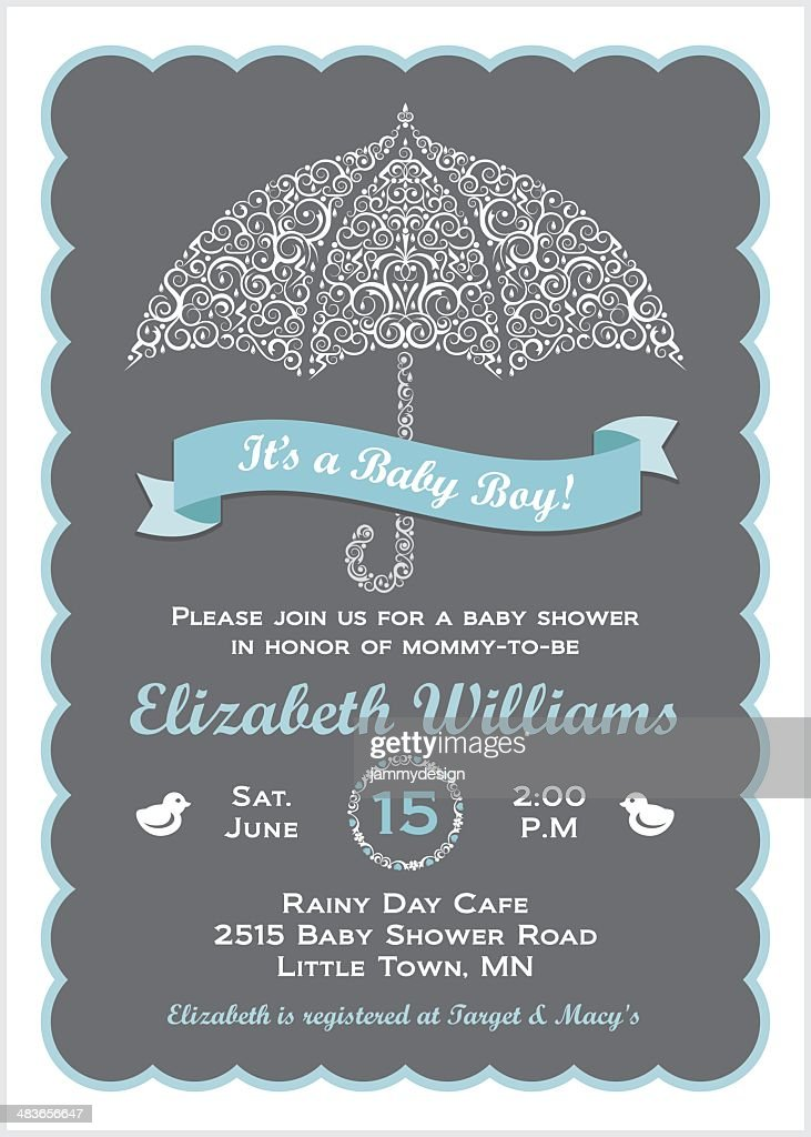Its A Baby Boy Shower Invitation With Umbrella Vector Art | Getty Images