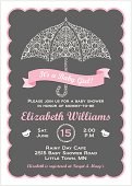 It's a Baby Girl Shower Invitation with Umbrella