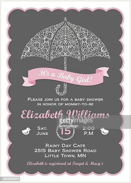 stockillustraties, clipart, cartoons en iconen met it's a baby girl shower invitation with umbrella - gekarteld