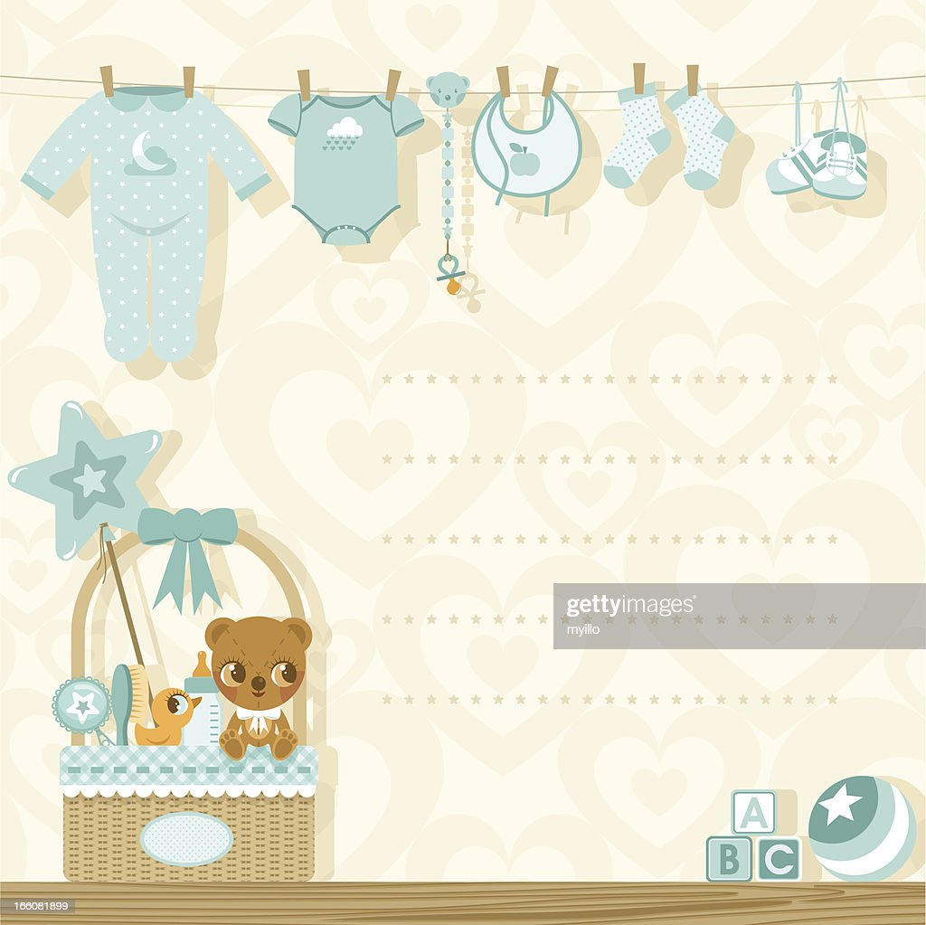 It´s a boy baby shower invitation : stock illustration