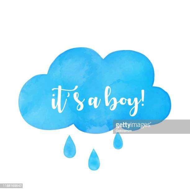 es ist ein junge kalligraphie schriftzug auf aquarell handbemalt blaue wolke. hand geschrieben eiszum zitat. einfach zu bearbeiten vorlage für baby-dusche-einladung, grußkarte, banner, poster, tag, etikett. - wasserfarbe auf papier stock-grafiken, -clipart, -cartoons und -symbole