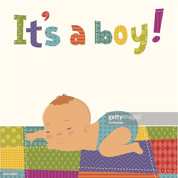 ilustraciones, imágenes clip art, dibujos animados e iconos de stock de es un niño tarjeta - baby blanket
