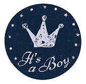 Its a boy label. Baby announcement card.