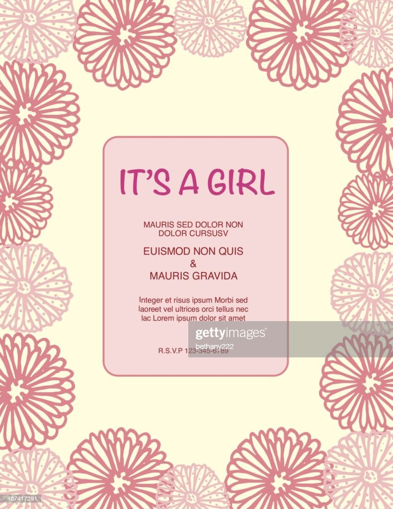 Its a girl greeting card baby shower invitation pink flowers vector its a girl greeting card baby shower invitation pink flowers vector art filmwisefo