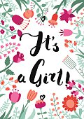 It'€™s a girl! ink handwritten lettering illustration with flowe