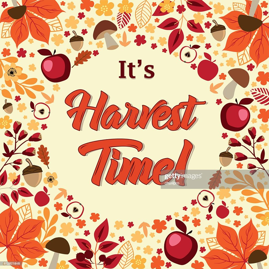 its harvest time autumn background with circle frame ベクトルアート