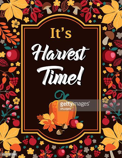 It's Harvest Time - Autumn background with frame