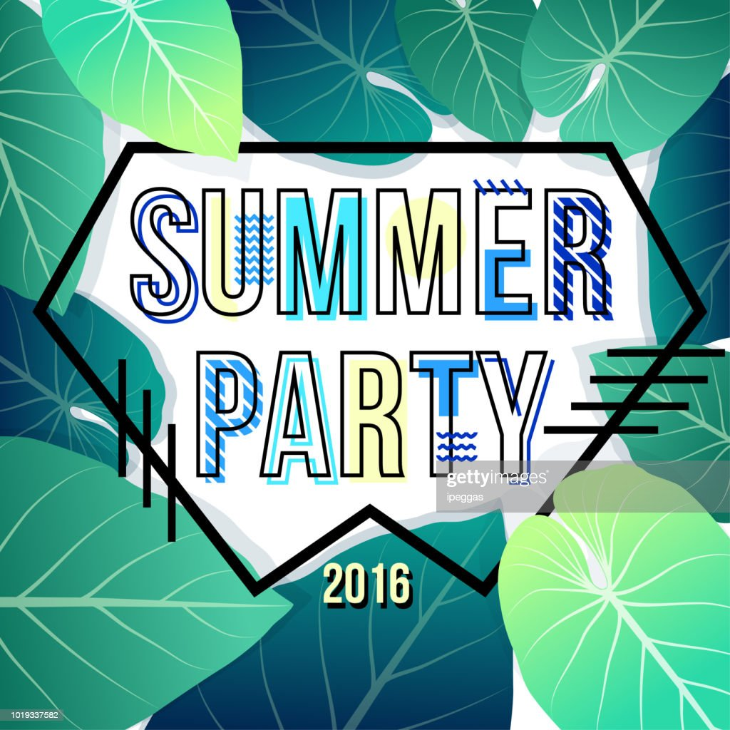 It's Summer time poster template. Summer party poster with tropical leaf and lettering  summer party. Summer time background. Vector illustration.
