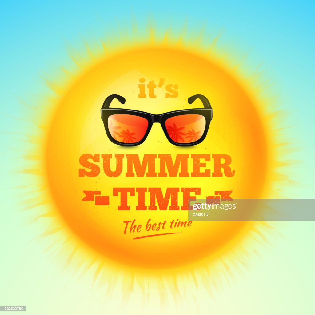 It's Summer Time typographic inscription with sunglasses on realistic sun