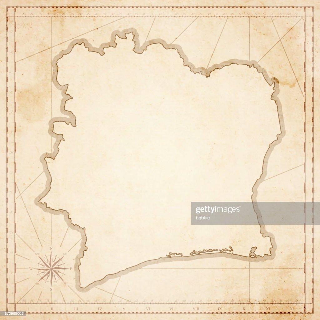 Côte D Ivoire Karte Im Retrovintagestil Strukturierte Altpapier ...