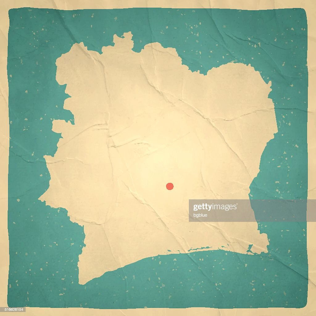 Ivory Coast Map On Old Paper Vintage Texture Vector Art | Getty Images